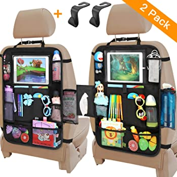 Car Organizer Back Seat, Backseat Car Organizer with Touchable Tablet Holder+12 Storage Pockets | 2 Bonus Hooks | 2 Earphone Hole Design, Kick Mats Protector Travel Accessories for Kids (2 Pack)