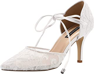 ERIJUNOR Ivory Lace Mesh Satin Bridal Wedding Shoes for Women Comfortable Mid Heel Tie Up Ankle Strap Pointy Toe Pumps