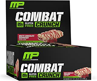 MusclePharm Combat Crunch Protein Bar, 20g Protein, White Chocolate Raspberry Bars, 12 Count