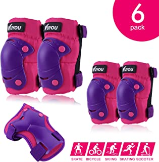 Knee Pads for Kids, Protective Gear Set Knee Pads Elbow Pads Wrist Guards 3 in 1 for Skateboarding Inline Roller Skating C...