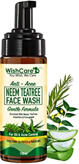 WishCare Anti Acne Neem TeaTree Foamin Face Wash with Neem Whole Leaves, AloeVera & TeaTree - For Oily Skin and Acne Face ...