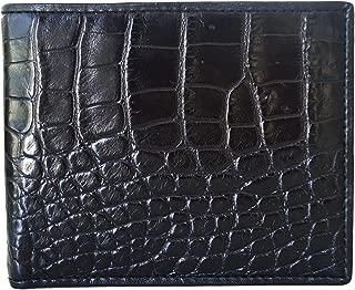Authentic M Crocodile Skin Men's Bifold Belly Leather Black Wallet