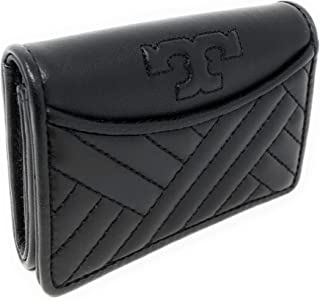 TORY BURCH Soft Quilted Leather Alexa Foldable Mini Card Case Wallet Black