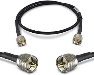 Proxicast Ultra Flexible PL259 Male - PL259 Male Low Loss 50 Ohm Coax Cable Jumper Assembly for CB/UHF/VHF/Shortwave/HAM/Amateur Radio Equipment and Antennas - 6 ft