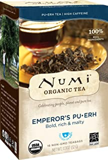 Numi Organic Tea Emperor's Pu-erh, 16 Count Box of Tea Bags, Black Tea (Packaging May Vary)