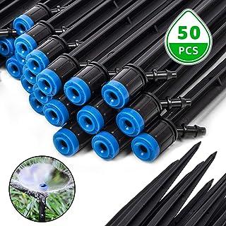 EOX Drip Irrigation Emitters, 50 PCS Fan Shape Irrigation Drippers 1/4 in Adjustable Drip Emitters Spray Garden Quarter In...