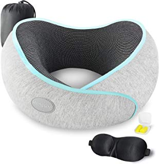 Travel Pillow, 100% Memory Foam Neck Pillow for Airplane Travel, Full Neck Chin Support Adjustable Airplane Pillow, Machine Washable Cover, with 3D Sleep Mask, Earplugs, and Travel Bag(Grey)