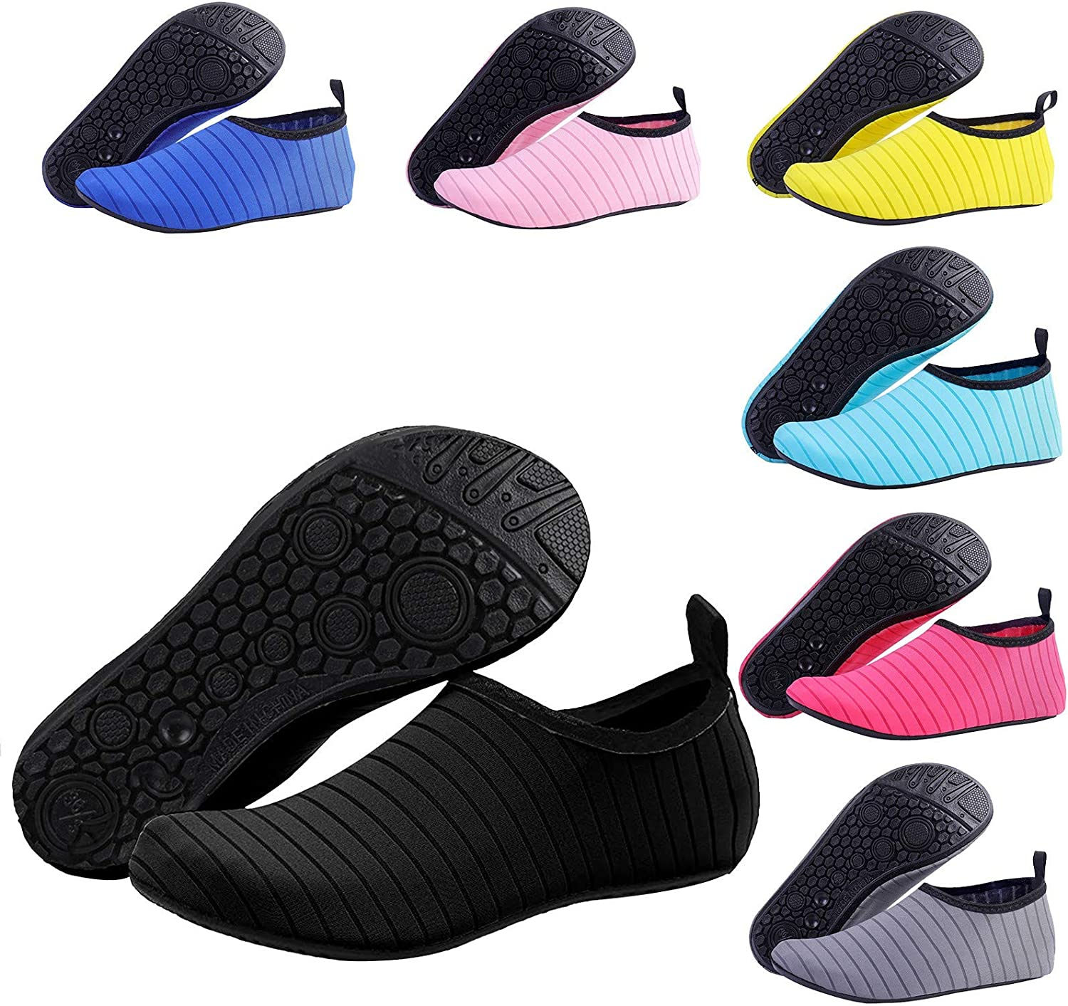 【2021Upgrade】 Water Shoes Aqua Socks for Women & Men Barefoot Quick-Dry Barefoot Shoes Slip-on for Beach Pool Swim Surf Yoga Exercise,Thermoplastic Rubber Sole (L:7.5-8.5 Women/6.5-7.5 Men, Black)