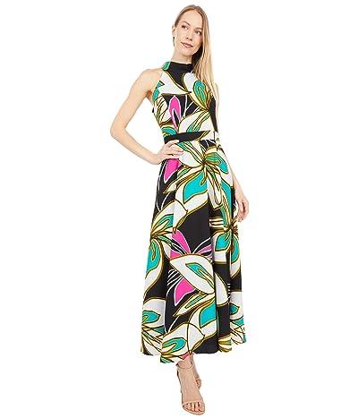 Tahari by ASL Printed Floral Tie Neck Maxi Dress Women