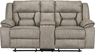 Standard Furniture 4227423V Acropolis Manual Motion Reclining Glider Loveseat with Power Strip, Beige Love Seats