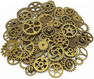LolliBeads® 120 Gram Antiqued Bronze Metal Skeleton Steampunk Watch Gear Cog Wheel Sets(80pcs)
