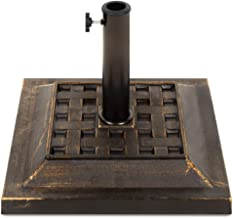 Best Choice Products Heavy Duty 26lb Outdoor Steel Square Patio Umbrella Base Stand w/Bronze Finish, Decorative Basketweave Pattern - Black