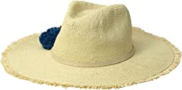 Beach Hat with Raffia Poms Trim