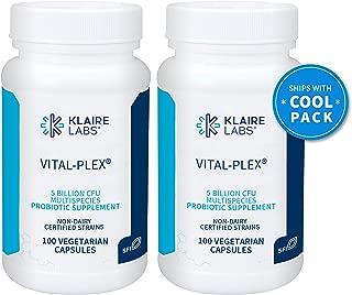 Klaire Labs Vital-Plex Probiotic - Helps Rebalance GI Microbiota for Men & Women, 5 Billion CFU Hypoallergenic & Dairy-Free Bifidobacterium & Lactobacillus Blend (100 Capsules, 2 Pack)
