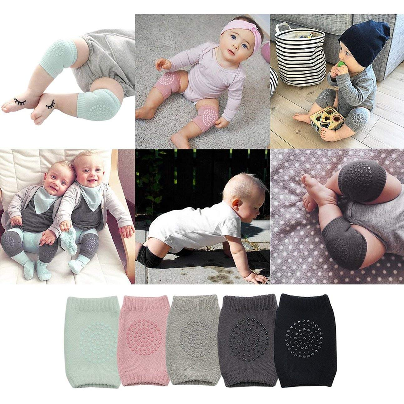 Color:Black MachinYester Comfortable Newborn Baby Knee Pad Kids Safety Breathable Crawling Elbow Knee Protective Pad Warmers for Infant Toddlers