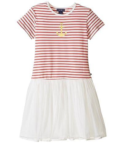 Toobydoo Short Sleeve Tulle Dress (Toddler/Little Kids/Big Kids) (Red/White/Gold/Tulle Skirt) Girl