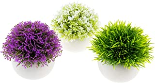 Clever Garden | 3 Pack of Artificial Potted Plants | Green, White and Dark Purple in White Pots | Home, Office, Desk Decor...