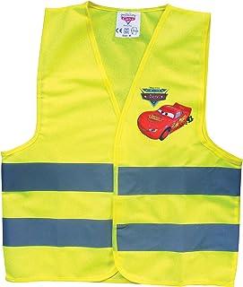 Disney Cars 25935 Warnweste für Kinder, Gelbe Sicherheitsweste mit reflektierenden Streifen mit Lightning McQueen, Größe: Small   für Kids bis 6 Jahre