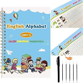 Magic Calligraphy Set, Reusable Handwriting Copybook Set for Kids Including 1 Copybooks, 2 Pens, 2 Writing Aid Grip and 10...