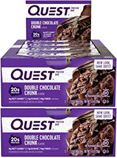 Quest Nutrition Protein Bar Double Chocolate Chunk. Low Carb Meal Replacement Bar w/ 20g+ Protein. High Fiber, Soy-Free, G...