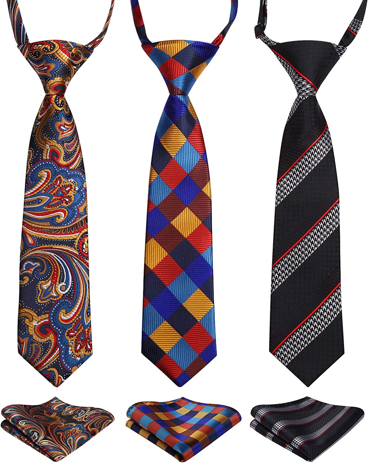 Enlision 3pcs NEW before selling ☆ Boys Pre-Tied Sales for sale Neckties Square St Set Neck Pocket