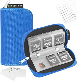 Eco-Fused Memory Card Carrying Case - Suitable for Sdhc and SD Cards - 8 Pages and 22 Slots - Microfiber Cleaning Cloth In...