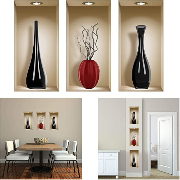The Nisha 3 PC Pack Art Magic Peel And Stick 3D Vinyl Removable Wall Sticker Decals DIY Sticky Backsplash Black And Red Ceramic Vases 310 2