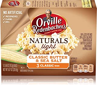 Orville Redenbacher's Naturals Light Classic Butter & Sea Salt Microwave Popcorn, 2.69 Ounce Classic Bag, 3-Count