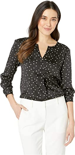 Petite Long Sleeve Crisp Polka Dot Split-Neck Tunic