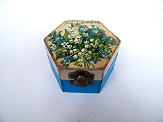 Cajita de madera Joyero floral, Lirio de los Valles, Elegante Caja de Almacenamiento para Mujer, Hecha a mano 9x8x5cm