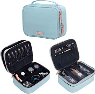 Becko Double Layer Jewel Organizer Bag case Travel Jewelry Roll for Multiple Necklaces, Rings, Bracelets, Large Capacity Without Crease, Lightweight, Portable & Practical - Blue