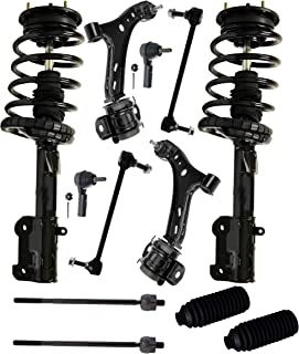 Detroit Axle - 12PC Front Strut & Coil Spring Assembly, Front Lower Control Arms w/Sway Bars, Inner Outer Tie Rods w/Rack Boots for 2005-2008 Ford Mustang Base & GT (Excluding Shelby or Bullitt)