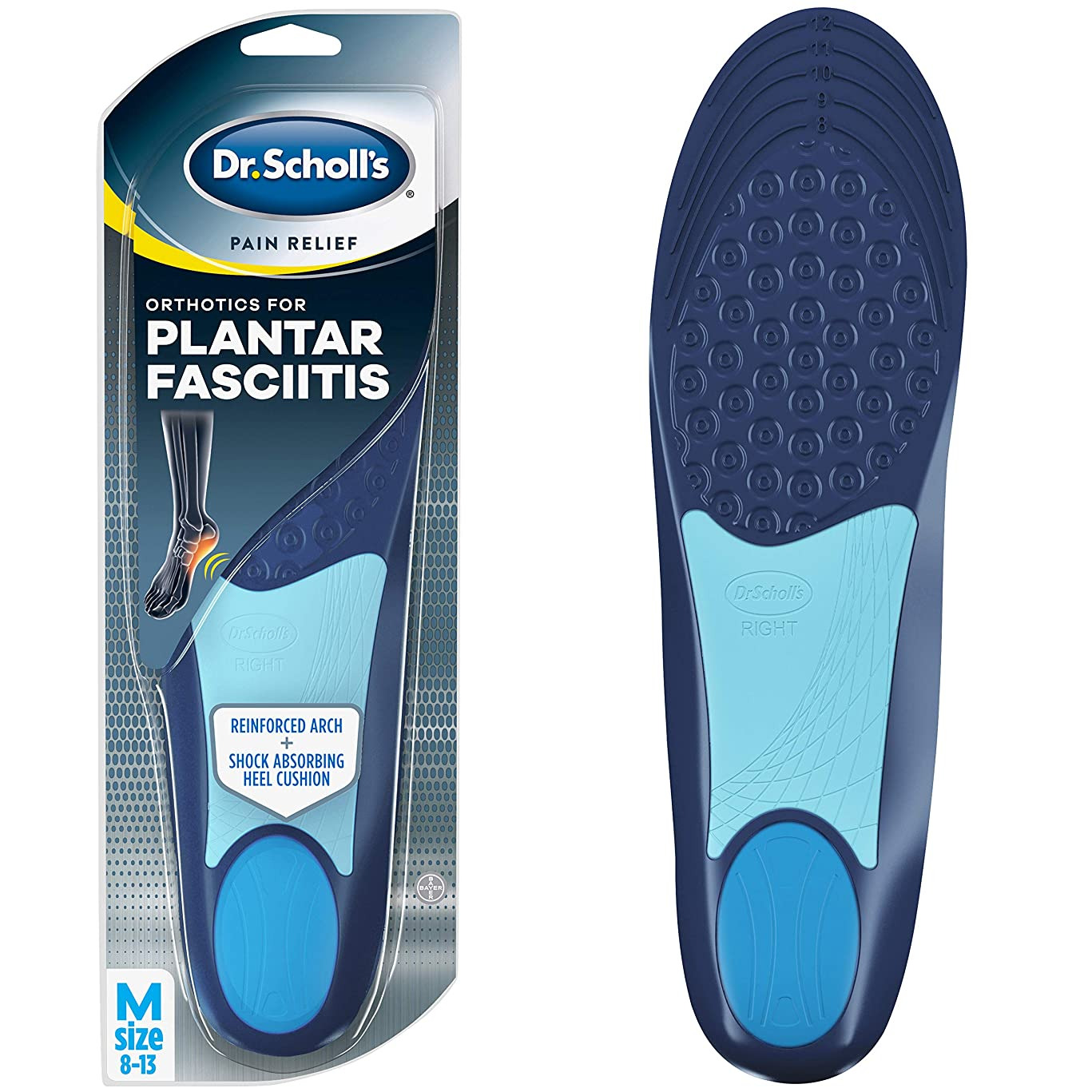 Dr. Scholl's PLANTAR FASCIITIS Pain Relief Orthotics (Men's 8-13, Women's 6-10) // Relieve and Prevent Plantar Fasciitis Pain All Day
