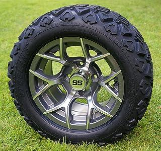 "12"" RALLY Gunmetal Golf Cart Wheels and 20x10-12 DOT All Terrain Golf Cart Tires - Set of 4 - NO LIFT REQUIRED (read descr..."
