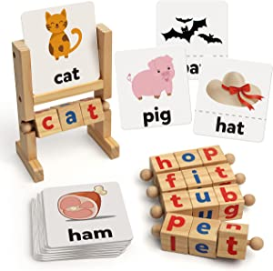 Coogam Wooden Reading Blocks Short Vowel Rods Spelling Games, Flash Cards Turning Rotating Letter Puzzle for Kids, Sight Words Montessori Spinning Alphabet Learning Toy for Preschool Boys Girls