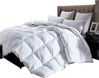 Luxurious King Size Lightweight Goose Down Comforter Duvet Insert All Season, 1200 Thread Count 100% Egyptian Cotton, 750+ Fill Power, 42 oz Fill Weight, Hypoallergenic, White Color