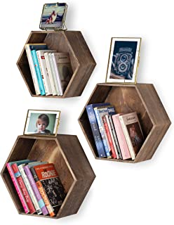 Rustic State Brooks Wall Mount Hexagon Wooden Box Shelf | Distressed Walnut Varying Sizes Set of 3