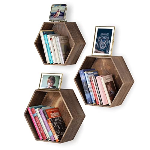 Rustic State Brooks Wall Mount Hexagon Wooden Box Shelf   Distressed Walnut Varying Sizes Set of 3