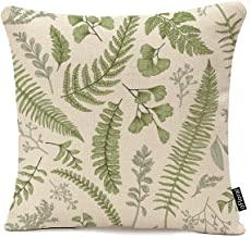 Throw Pillow Cover Green Leaf Floral in Vintage Style Leaves and Herbs Botanical Boxwood..