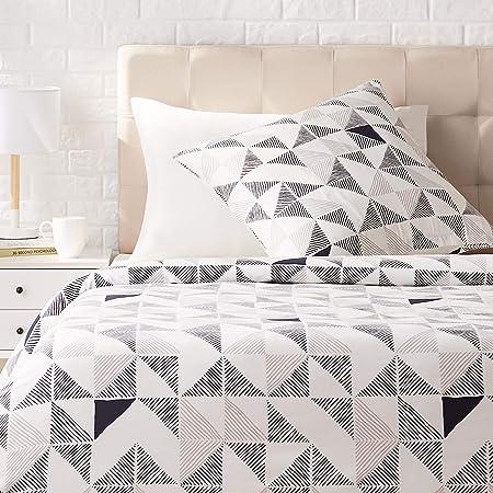 Amazon Basics Parure de lit avec housse de couette en satin, 140 x 200 cm / 65 x 65 cm x 1, Fusion diamant