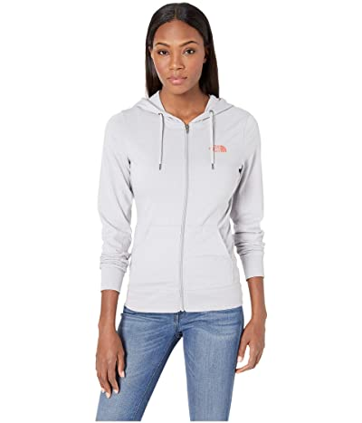 The North Face Lightweight Tri-Blend Full Zip Hoodie (TNF Light Grey Heather/Spiced Coral) Women