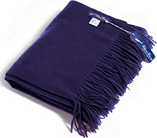 Fishers Finery 100% Pure Cashmere Throw Blanket with Gift Box (Navy)
