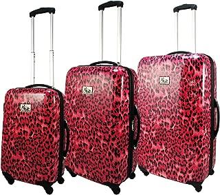 3-Piece Hardside Lightweight Spinner Upright Luggage Set, Pink Leopard