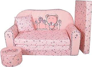 Fortisline LIT Enfant FAUTEUILS CANAPÉ Sofa + Pouf ET Coussin Sweet-Bear W319_04