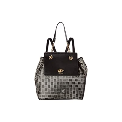 Anne Klein Logo Chain Toggle Backpack (Natural/Black) Backpack Bags