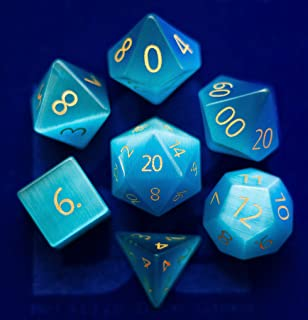 Engraved Cat's Eye Aquamarine Gemstone Polyhedral Dice Set: Hand Carved Full-Sized 16mm. Great for DND RPG Dungeons and Dragons