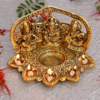 Collectible India Laxmi Ganesh Saraswati Idol Diya Oil Lamp Deepak - Metal Lakshmi Ganesha Showpiece Statue - Traditional ...