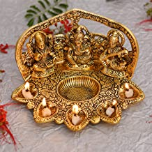 Collectible India Laxmi Ganesh Saraswati Idol Diya Oil Lamp Deepak - Metal Lakshmi Ganesha Showpiece Statue - Traditional Diya for Diwali Puja - Diwali Home Decoration Items Gift