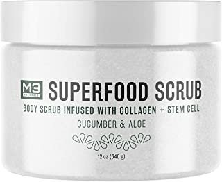 M3 Naturals Superfood Body Scrub Infused with Collagen and Stem Cell - Natural Cucumber and Aloe - Exfoliate Body and Face - Deep Cleansing Moisturizer for Acne Scars, Anti-Cellulite and Wrinkles 12oz