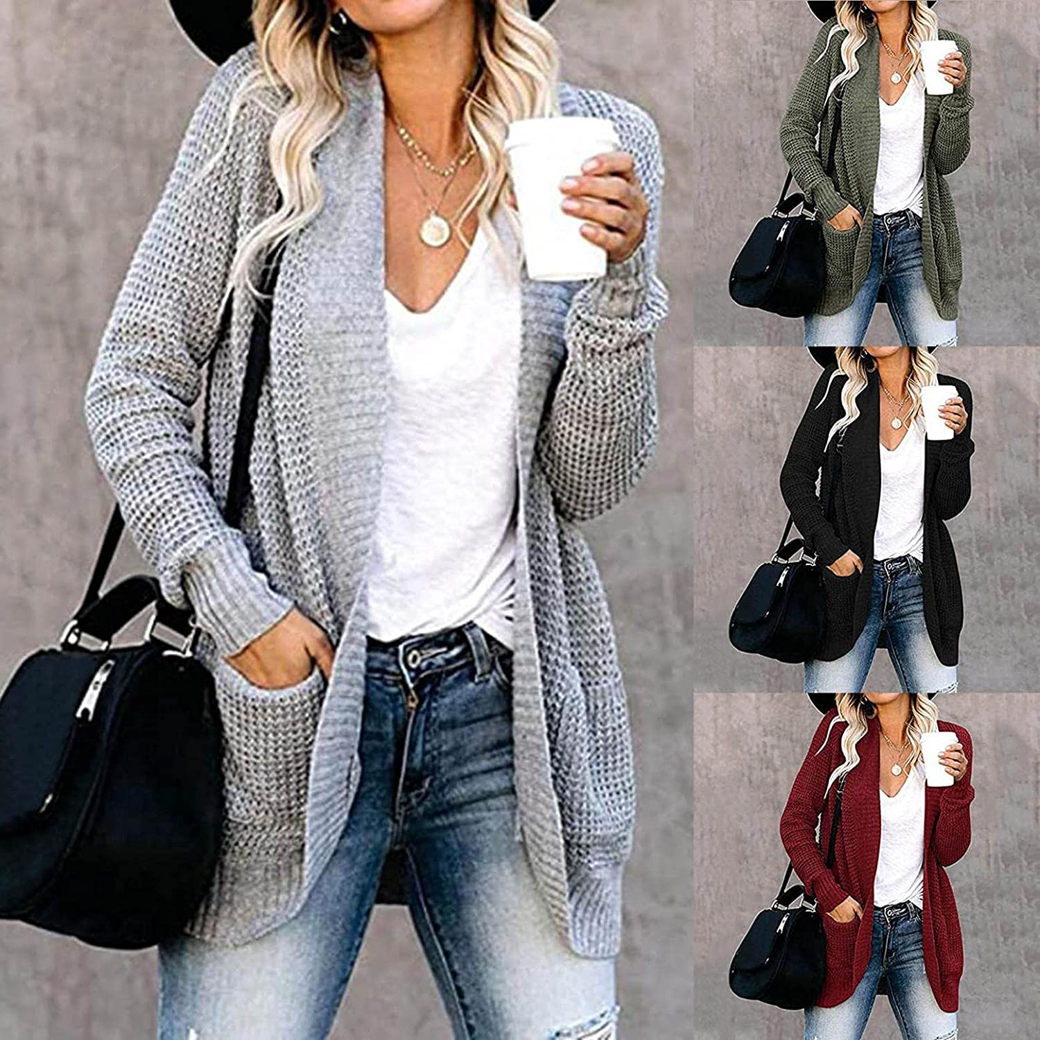 AODONG Cardigan for Women Lightweight Cable Knitted Sweaters Open Front Crochet Cardigan Long Sleeve Coat Tops